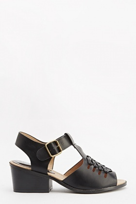 Twisted Design Low Heel Sandals