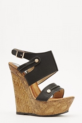 Wooden Strappy Wedges