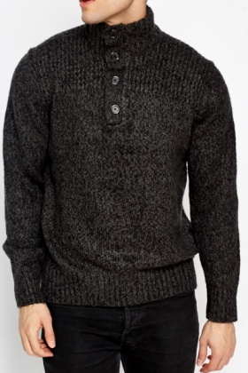 Button Neck Charcoal Jumper