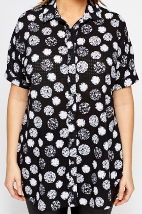 Contrast Circle Print Blouse