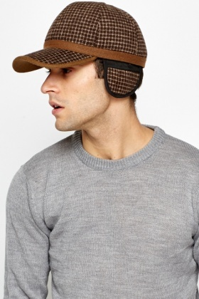 Grid Check Fleeced Cap
