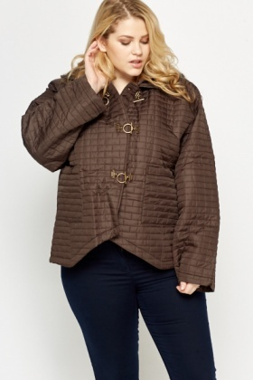 Hook Front Quilted Jacket