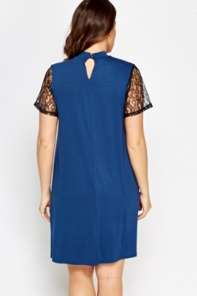 Middle Blue Lace Insert Dress