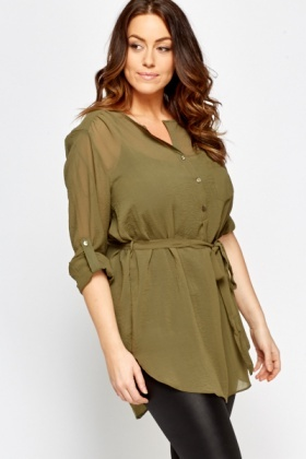 Olive Sheer Blouse