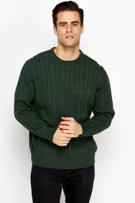 Plait Knit Front Cotton Jumper
