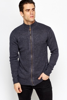 Ribbed Shoulder Zip Up Jumper