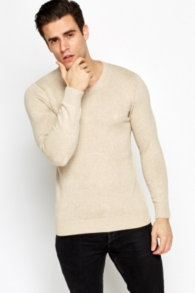 Ribbed V-Neck Jumper