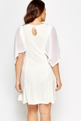 Sheer Sleeve Cream Dress
