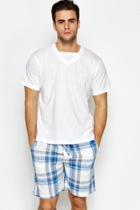 T-Shirt And Check Short Pyjama Set
