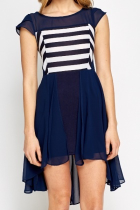 Asymmetric Overlay Hem Contrast Dress