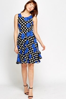 Bold Floral Polka Dot Dress