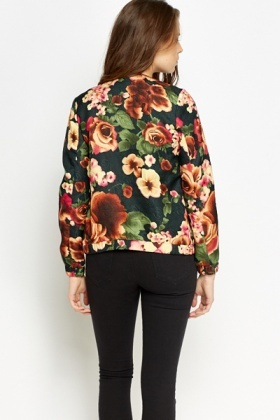 Floral Green Bomber Jacket
