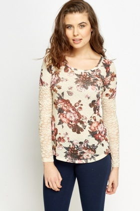 Knit Floral Lace Sleeve Top