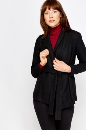 Lapel Front Black Wrap Jacket