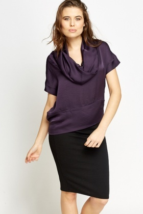 Purple Cowl Neck Blouse