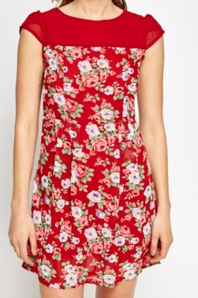 Red Cap Sleeves Floral Dress