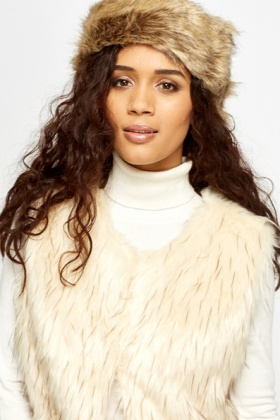 Beige Faux Fur Headband