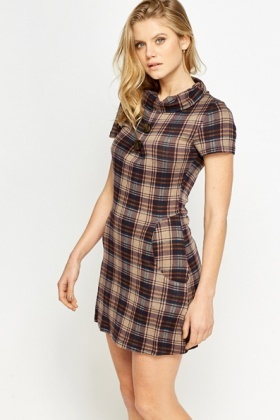 Cowl Neck Tartan Shift Dress
