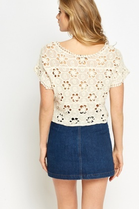 Crochet Perforated Crop Top
