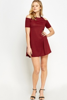 Cut Out Shoulder A-Line Dress