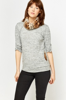 Faux Fur Animal Print Collar Jumper