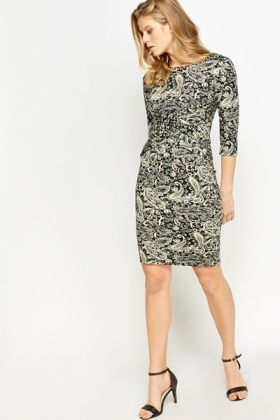 Paisley Print Bodycon Dress