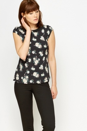 Rose Print Collar Blouse
