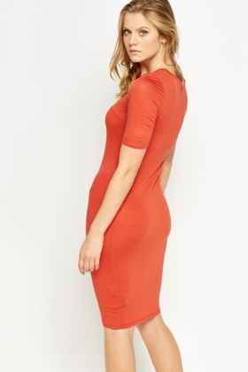 Rust Midi Bodycon Dress
