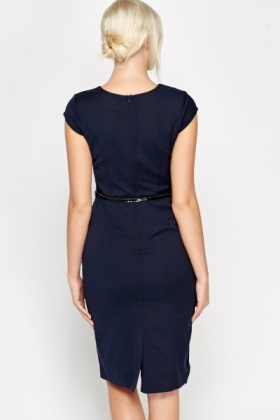 Belted Cap Sleeve Dress