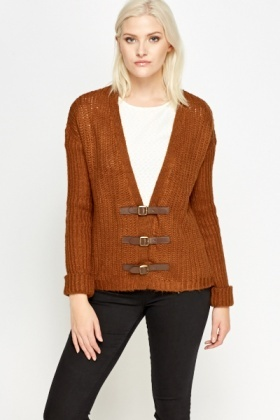 Buckle Front Loose Knit Cardigan