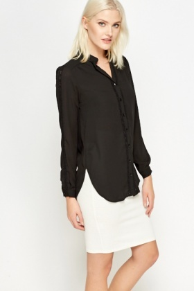Lace Trim Front Black Blouse