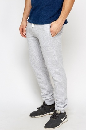 Light Grey Ribbed Joggers