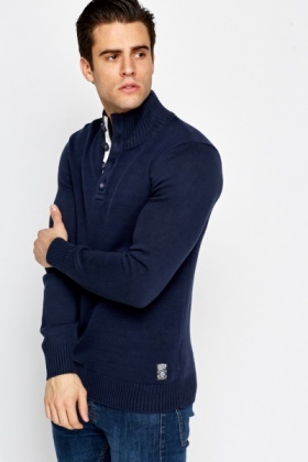 Navy High Neck Sweater