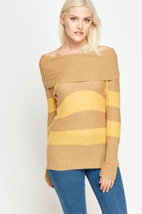 Off Shoulder Striped Jumper