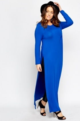 Royal Blue Maxi Split Hem Top