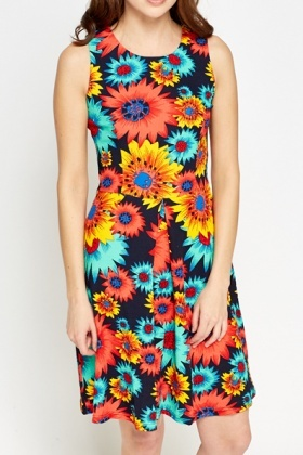 Colourful Sleeveless Floral Dress