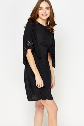 Diamante Overlay Black Dress