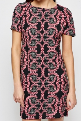 Fuchsia Printed Shift Dress