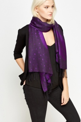 Purple Feather Print Scarf