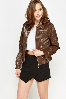 PVC Zip Up Casual Jacket