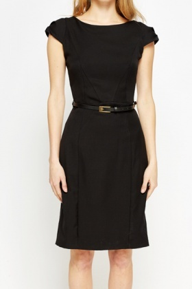 Black Cap Sleeve Formal Dress