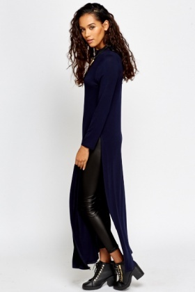 High Neck Longline Navy Top