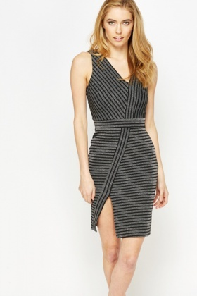 Metallic Bodycon Striped Dress