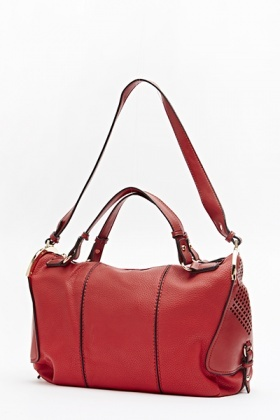 Cut Out Side Red Faux Leather Bag