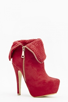 Faux Fur Overlay Heeled Boots