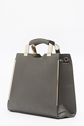 Grey Gold Detail Handbag