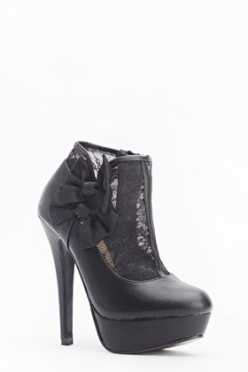 Lace Insert Bow Side Boots