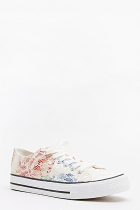 Multi Coloured Floral Lace Trainers