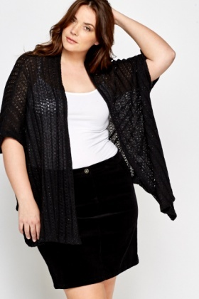Black Metallic Loose Knit Cardigan