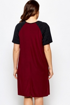 Contrast Sleeves Swing Dress